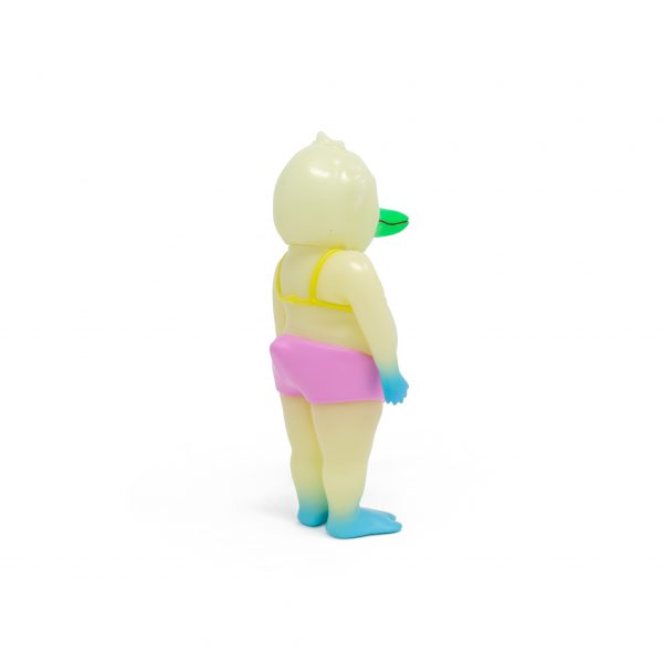A photo of the Glow in the Dark Colorway Duck Man, facing backward and to the side