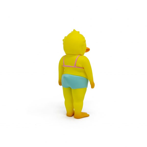 A photo of the Yellow Colorway Duck Man, facing backward and to the side