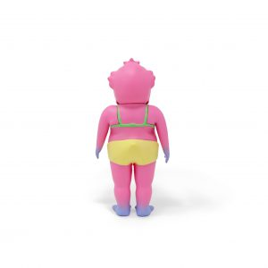 A photo of the Pink Colorway Duck Man, facing backward