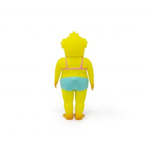 A photo of the Yellow Colorway Duck Man, facing backward