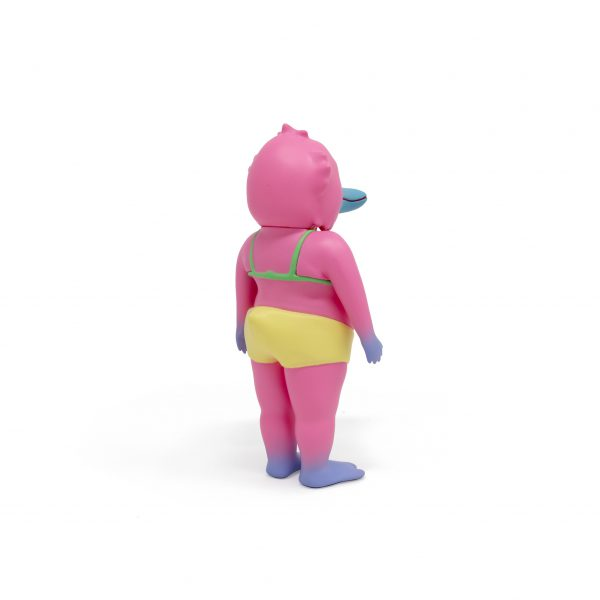 A photo of the Pink Colorway Duck Man, facing backward and to the side